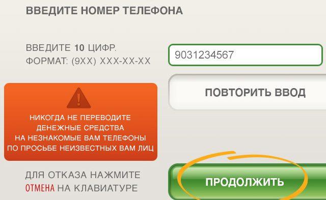 Оплата Билайн терминал шаг 1