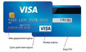 Реквизиты пластика Visa