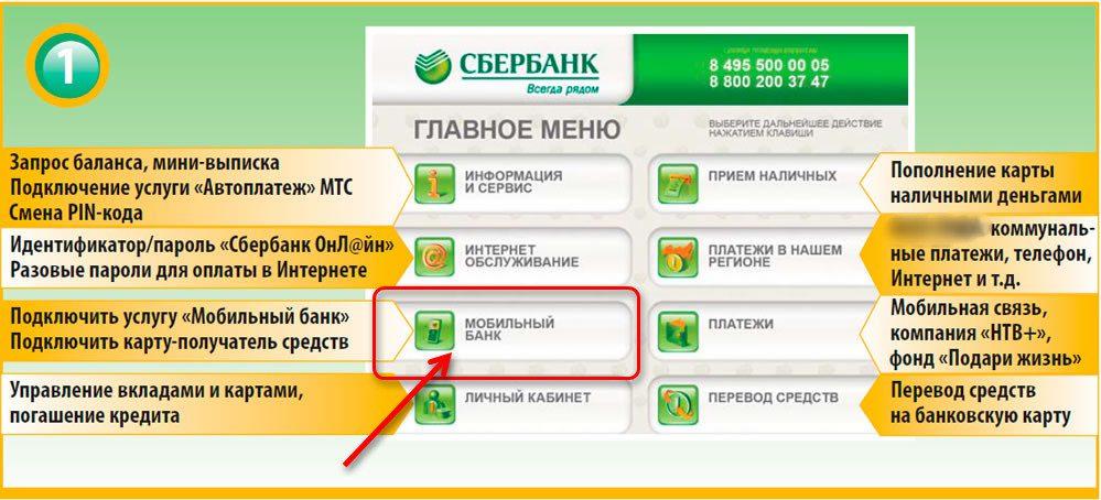 Подключение мобильного банка через терминал