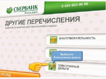 Раздел «Электронные деньги» на терминале Сбербанка5c5b3c2660c08