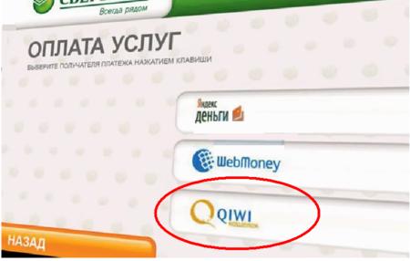 Выбор Qiwi кошелька на терминале Сбербанка5c5b3c2707863