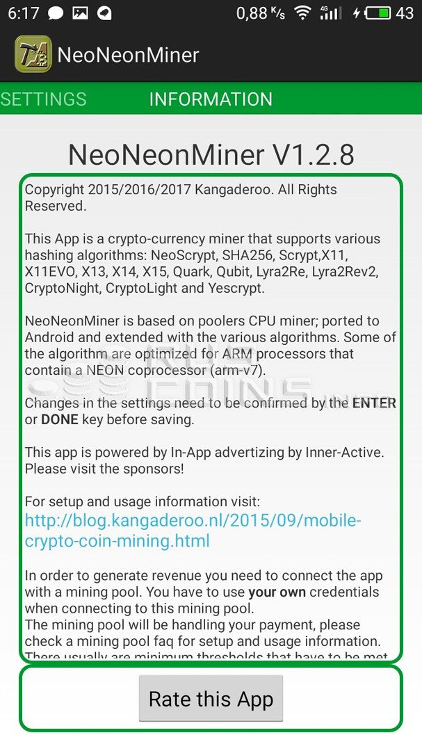 Интерфейс мобильного приложения для майнинга NeoNeonMiner5c5b411040cd5