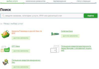 Здесь имеется перечень некоторых партнеров Сбербанка, а также предоставляется право оплатить по номеру БИК 5c5b53aee8a81