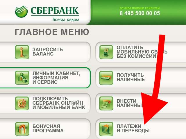 Главное меню сбербанковского банкомата5c5b58f672e40