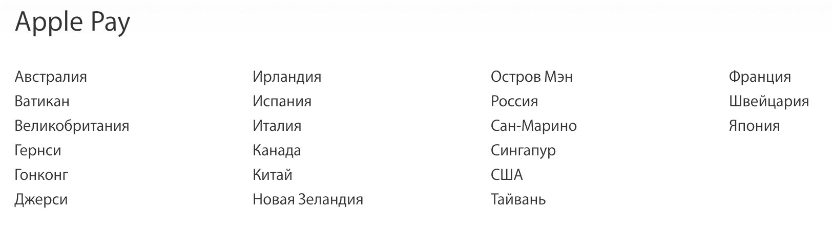 Список стран, где работает Apple Pay.5c5ac62cc82fc