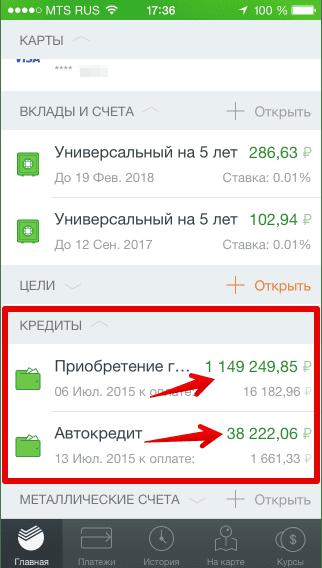 Остатки по кредиту в мобильном приложении5c5b1662034d8