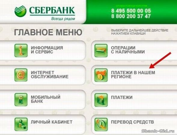 Платежи через терминал Сбербанка5c5b1bfbda5c5