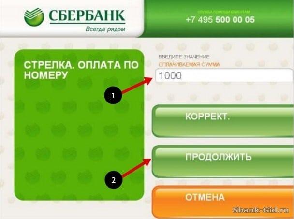 Подтверждение оплачиваемой суммы в терминале Сбербанка5c5b1bfdd9b48