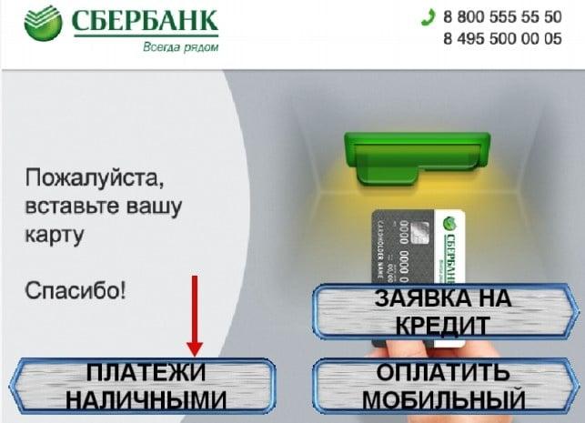 Оплата наличными услуг карты стрелка в терминале Сбербанка5c5b1bfea063e