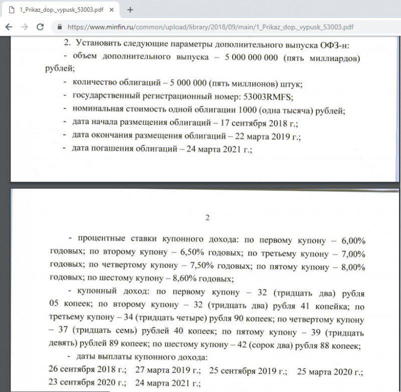 Выдержка из приказа Минфина о размещении облигаций для населения5c5b263f7b0a8