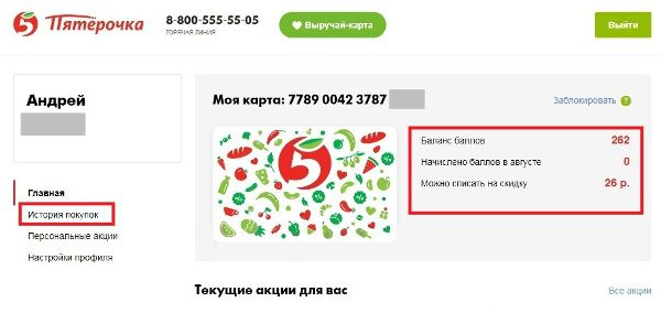 Интерфейс личного кабинета бонусного счета карты Пятерочка5c5b28bfddd71