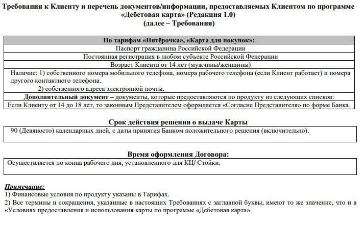 Требования для получения карты Пятерочка от Почта-Банка5c5b28c11574e