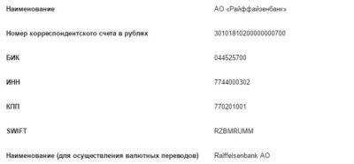 Платежные реквизиты Райффайзенбанка в г. Москва5c5b334352a50