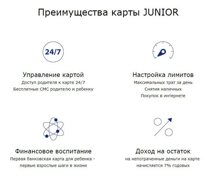 Преимущества карты Junior Бинбанка5c5b34907b8e9