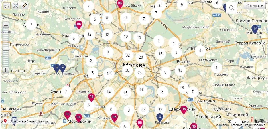 Карта банкоматов Почта Банка в Москве5c5d69b2e399c