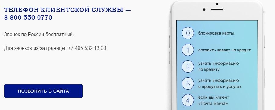 Телефон клиентской службы Почта Банка5c5d69b3417e5