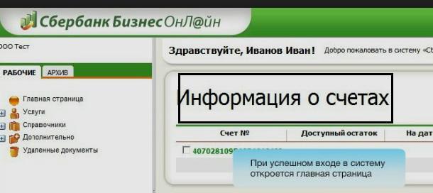 Информация о счете в личном кабинете Сбербанк бизнес онлайн5c6002bc2624d