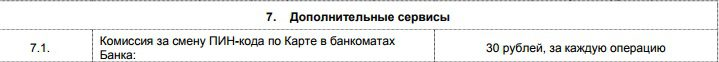 Комиссия за смену ПИН-кода у карты Пятерочка от Почта-Банка5c751942e2fc9