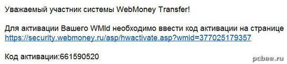 Код активации кошелька WebMoney пришел на e-mail5c7b1601e710f