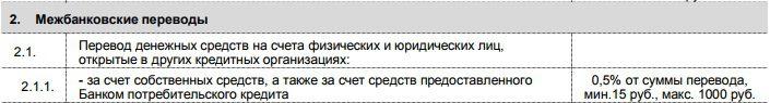 Тарифы на межбанковские переводы с карты Пятерочка при использовании систем ДБО5c89cea780118