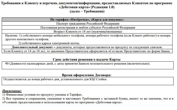 Требования для получения карты Пятерочка от Почта-Банка5c6251211de9d