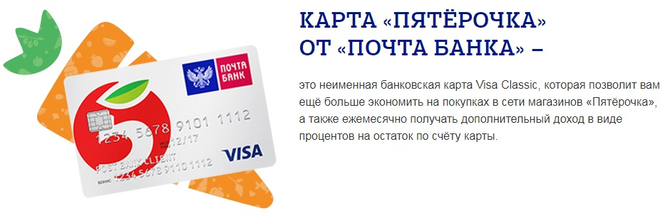 Внешний вид карты Пятерочка от Почта-Банка5c625121654e0