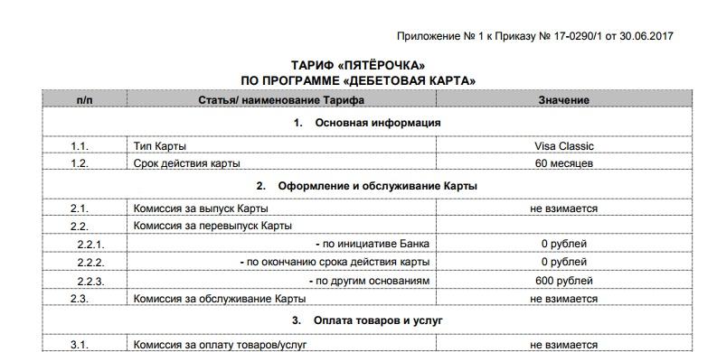 Тариф Пятерочка от Почта-Банка5c625121aa3f1