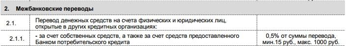 Тарифы на межбанковские переводы с карты Пятерочка при использовании систем ДБО5c625123ee208