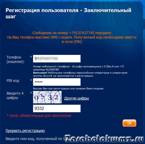 Здесь нужно ввести номер, который сервис Rapida вам отправил по sms на ваш номер телефона5c9808c93ee17