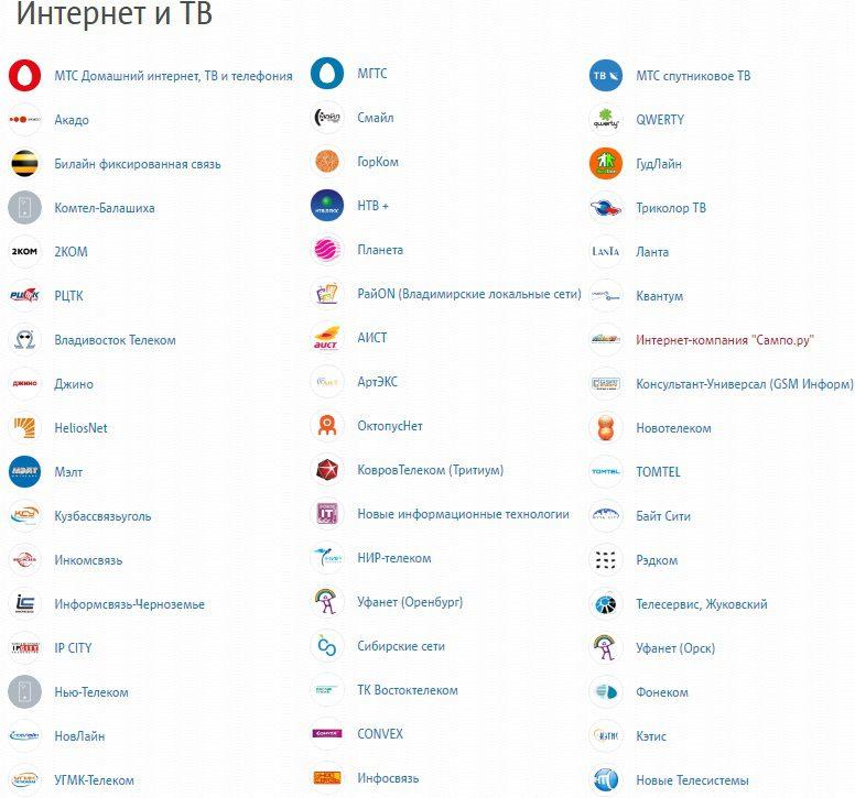 Список услуг в разделе Интернет и ТВ в кошельке МТС Деньги5c9b548f1fefc