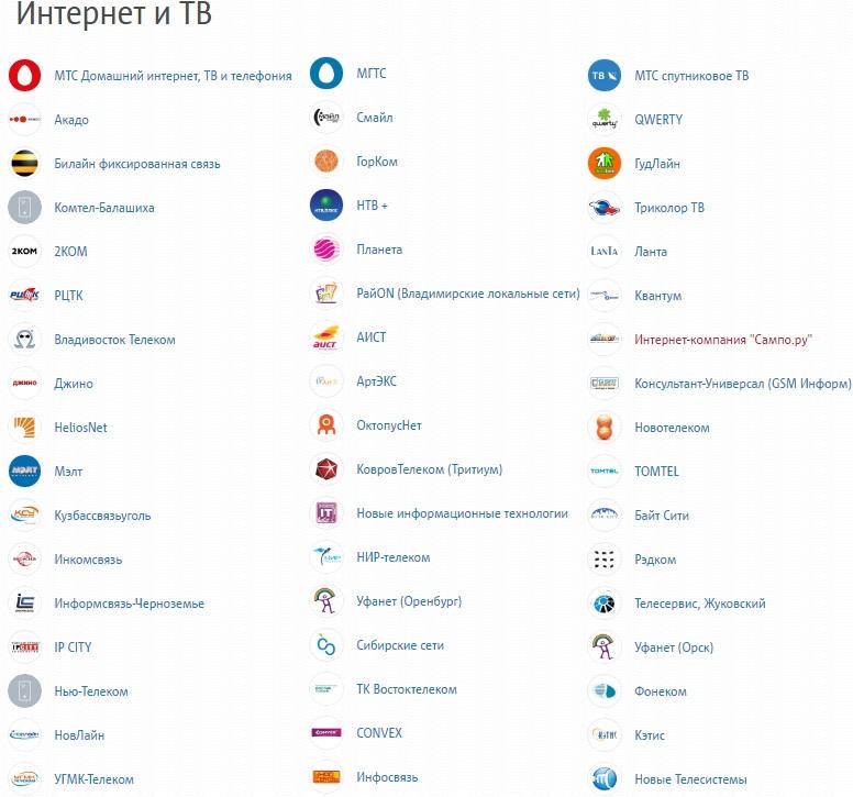 Список услуг в разделе Интернет и ТВ в кошельке МТС Деньги5c626bec80f8f