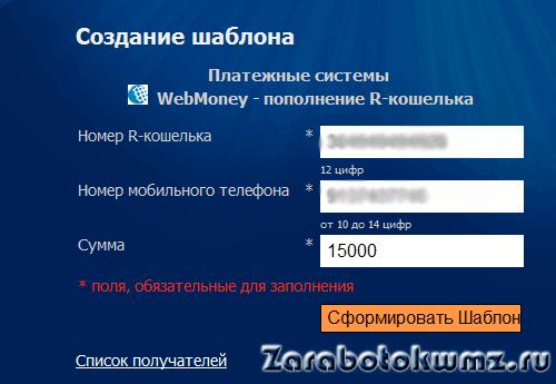 Ввод данных кошелька и телефона5c6274b4cdca8