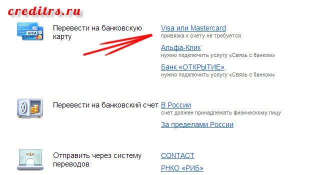 Окно выбора варианта перевода яндекс денег5ca0d2c6ae66e