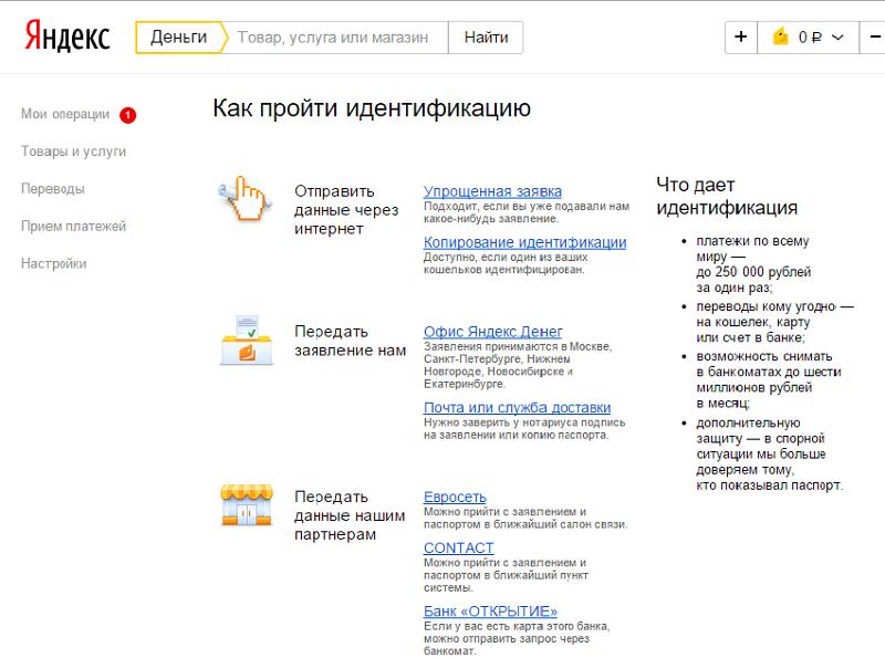 Идентификация Яндекс кошелька, пошаговая инструкция5ca67b5de5702