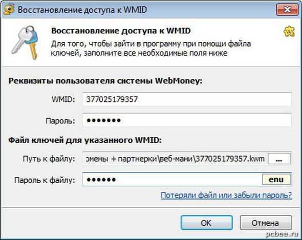 Заполняем все необходимы реквизиты пользователя WebMoney и указываем путь к файлу ключей (файл с расширением kwm).5cab88f6eb2d6