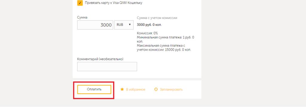 Ввод сумы и оплаты на карты на сайте QIWI5cade5af38572