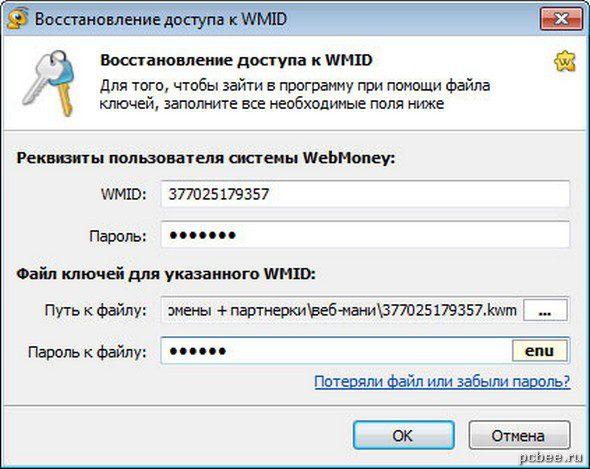 Заполняем все необходимы реквизиты пользователя WebMoney и указываем путь к файлу ключей (файл с расширением kwm).5cb6695c2abdd